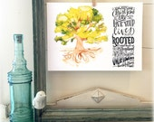 Colossians 2- Rooted in Christ-Overflowing with Thankfulness  - Art Print - Hand Lettering - Watercolor painting