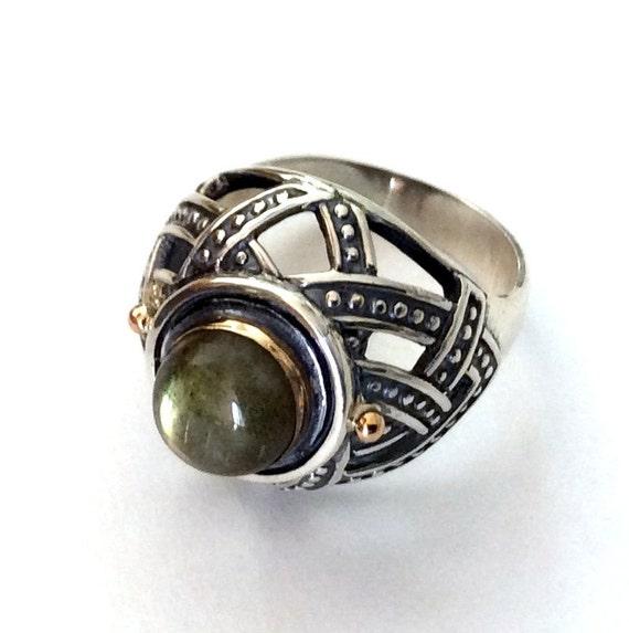 Statement ring, labradorite ring, rustic statement ring, high ring, sterling silver ring, two tones ring, gold silver ring - Zen R2175