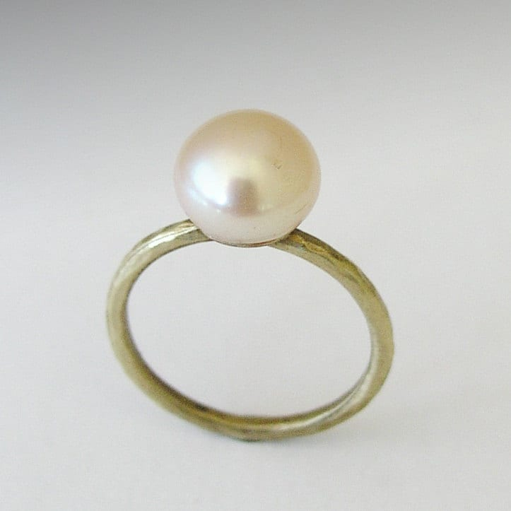 single pearl ring engagement ring simple brass ring thin
