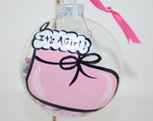 Hand Painted Pink Baby Girl Stocking Glass Christmas Ornament with FREE Personalization