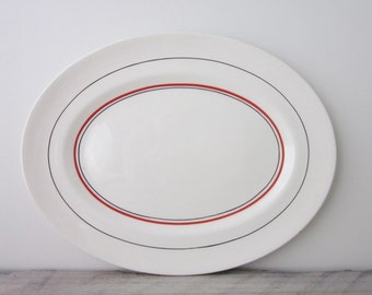 Mid Century Oval China Platter Red and Black Pinstripes Myott England