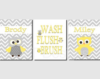 Brother Sister Bathroom Wall Art Boy Girl Bathroom Decor Owl Bathroom Kids Bathroom Art Wash Brush Flush Chevron Canvas or Prints Set of 3