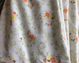 Vintage monticello sheet orage flowers floral yellow greet flat full double fabric yardage