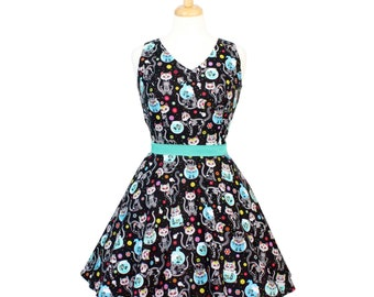 Cat Day of the Dead V-Neck Dress