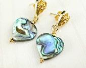Abalone Gold Earrings, Gold Heart Earrings, Abalone Heart, Abalone Post Stud, Rainbow Paua Shell Dangle, Blue Green Heart Post Earrings