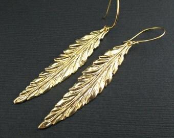 Large Gold Leaf Earrings Metal Leaf Vermeil Leaf Dangle, Gold Feather Earrings Gold Jewelry Gold Statement Earrings, Long Leaf Earrings