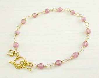 Pink Ruby Bracelet, 14k Gold Filled, Wire Wrapped, Rose Pink Gemstone Bracelet, Gold Ruby Bracelet