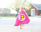 Personalized Letter Superhero Cape Lightening Bolt Hot Pink and Grey , 2T - 7T, cloak birthday present fast delivery to Australia