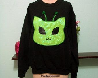 Holographic Alien Kitty Cat Uchuu Kei Martian Kitten Oversized Sweatshirt