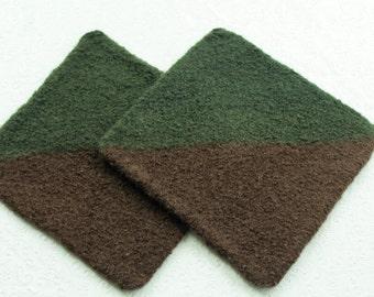 Set Wool Felt Hot Pads, Brown Green Wool Pot Holder Set, Brown Green Knit Felted Trivet Set, Earth Tones Pot Holder Set, Brown Wool Trivets