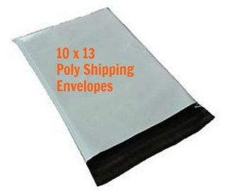 """25 poly mailers, 10"""" x 13"""", Self-Sealing Poly Mailers, White Poly Mailing Envelopes, Shipping Envelopes, White Plastic Mailing Envelopes"""