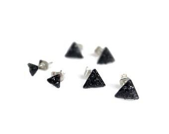 Black Tourmaline Stud Earrings, Small Triangle Stud Earrings