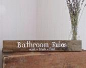 Wood Signs, Bathroom,Wash Your Hands, Bathroom Rules, Home Decor, Wall Decor, Reclaimed Wood, Farmhouse, Barn, Woodwork