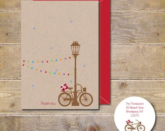 Thank You Cards, Christmas Thank You Cards, Bikes, Rustic Christmas Cards, Christmas Cards, Thank You Notes, Lamp Post, Bikes
