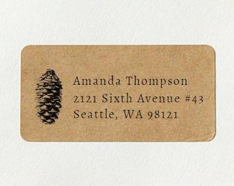 Custom Return Address Labels - Pine Cone Address Labels, Holiday Address Labels, Brown Kraft Address Labels, Pinecone, Winter Wedding