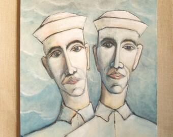 Male Portrait Painting, Sailor, Seaman, Wil Shepherd Studio, Original Fine Art, Portraiture, Paintings of Men, Couples, Blue, Acrylic
