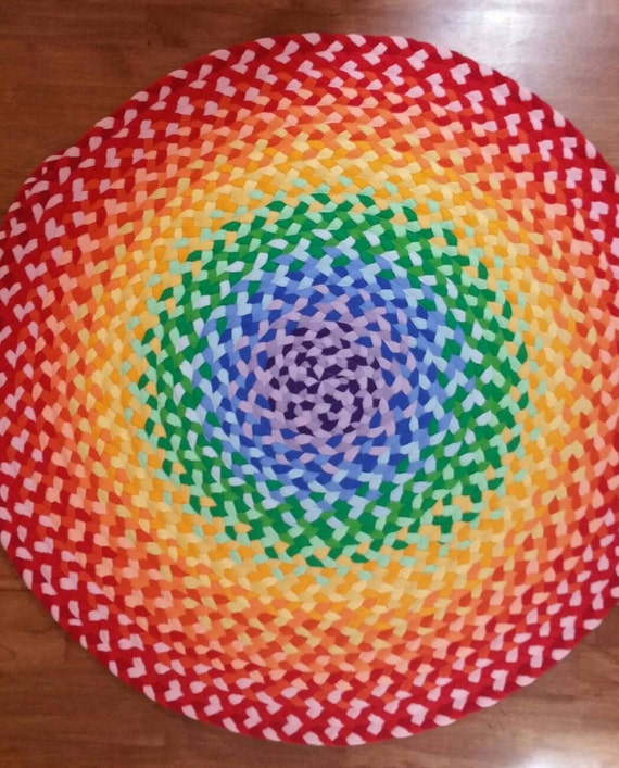 SALE 10% OFF select a size across round NEW Rainbow Rug braided from new and recycled t shirt