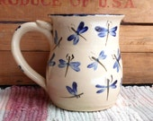 Dragonfly design pottery coffee cup - large ceramic coffee mug - handmade ceramic blue dragonfly cup - bistro style pottery mug - df010301