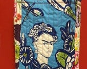 FRIDA KAHLO sacred heart Mexican quilted cross body crossbody tote bag handmade Tanzania textile Shweshwe sacred heart