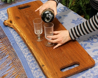 Old Oak Board Centerpiece Server Elevated