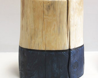 Indigo Blue Tree Stump End Table