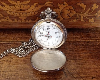 Watch - hanging watch - necklace - time - his hers watch - costume decor - Vintage look - Vintage reproduction watch - hunting gear watch -