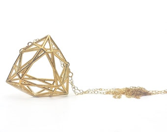 Faceted Trilliant Gemstone Necklace // 3D Printed // Geometric Contemporary Jewelry // LanaBetty