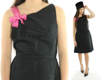 Vintage 60s Black Party Dress Asymmetrical Pink Bow Fringe Shoulder Strap Sleeveless 1960s Mod Small S LBD