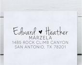 Custom Address Stamp, Calligraphy Address Stamp, Wedding Address Stamp - Eco Mount Rubber Address Stamp  - Heather