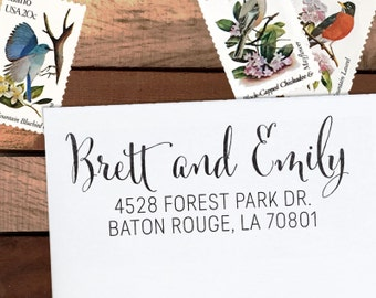 Custom Address Stamp, Calligraphy Stamp, Wedding Adress Stamp,Personalized Stamp Eco Mount or Self Inking - Emily