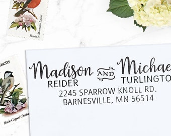 Custom Address Stamp, Calligraphy Stamp, Custom Stamp,  Personalized Stamp, Wedding Stamp, Self Inking or Eco mount -  Madison