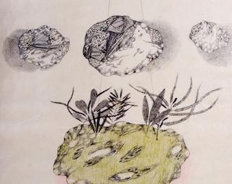 Original Pencil Drawing on Ceramics, Air Dry Clay, UFO, Surreal Art, Crystal, Mountains, Illustration, Sea, Mixed Media, Wall Sculpture