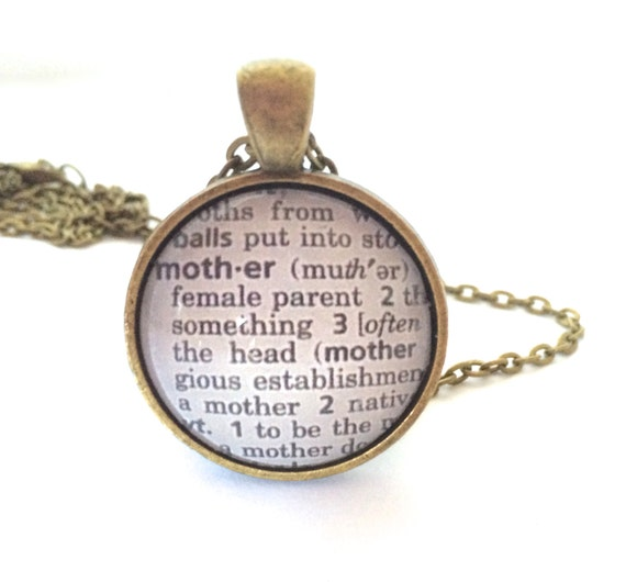 MOTHER Definition Necklace,  Dictionary Pendant, Definition of Mother, Silver Plated or Bronzed, Mothers Necklace, Gifts for Her