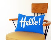 "Decorative Pillow Cover Lumbar Blue Hello 12"" x 16"" Cotton Canvas Bright Colorful Decor Throw Pillow Sofa Couch"