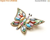 50% OFF Beautiful Vintage Butterfly Pin Pastel and Jewel Tone Rhinestones 3.5 x 2.25 Brooch 1960s
