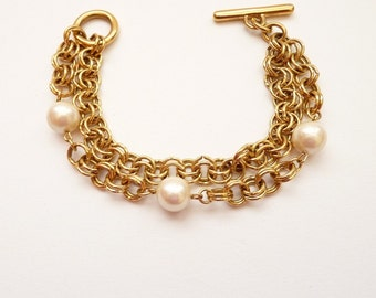 Vintage Gold Double Chain Bracelet with Pearls 8 Inches