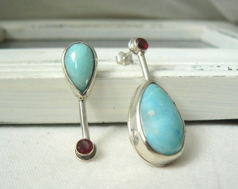 EAD2015 250/365 and 259/365 - Sterling silver Earrings with Larimar Cabochons and Ruby - Pair of asymmetrical earrings