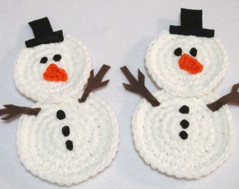 Snowman Trivets, Crochet Snowmen, Table Decor, Winter Decorations, Christmas Decorations MADE TO ORDER