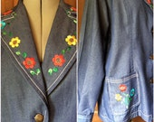 Embroidered Denim Suit Size Large