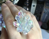 Angel Aura faux crystal point druzy ring, glitter, adjustable, fits sizes 7-8-9