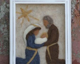 Nativity Scene / A needle felted nativity in shadowbox frame