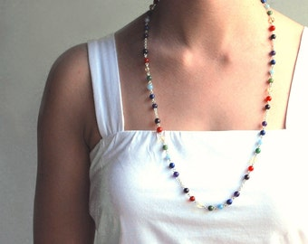 Chakra Meditation Strand Necklace, Bead Necklace in Gemstones & Sterling Silver or 14k Gold Filled