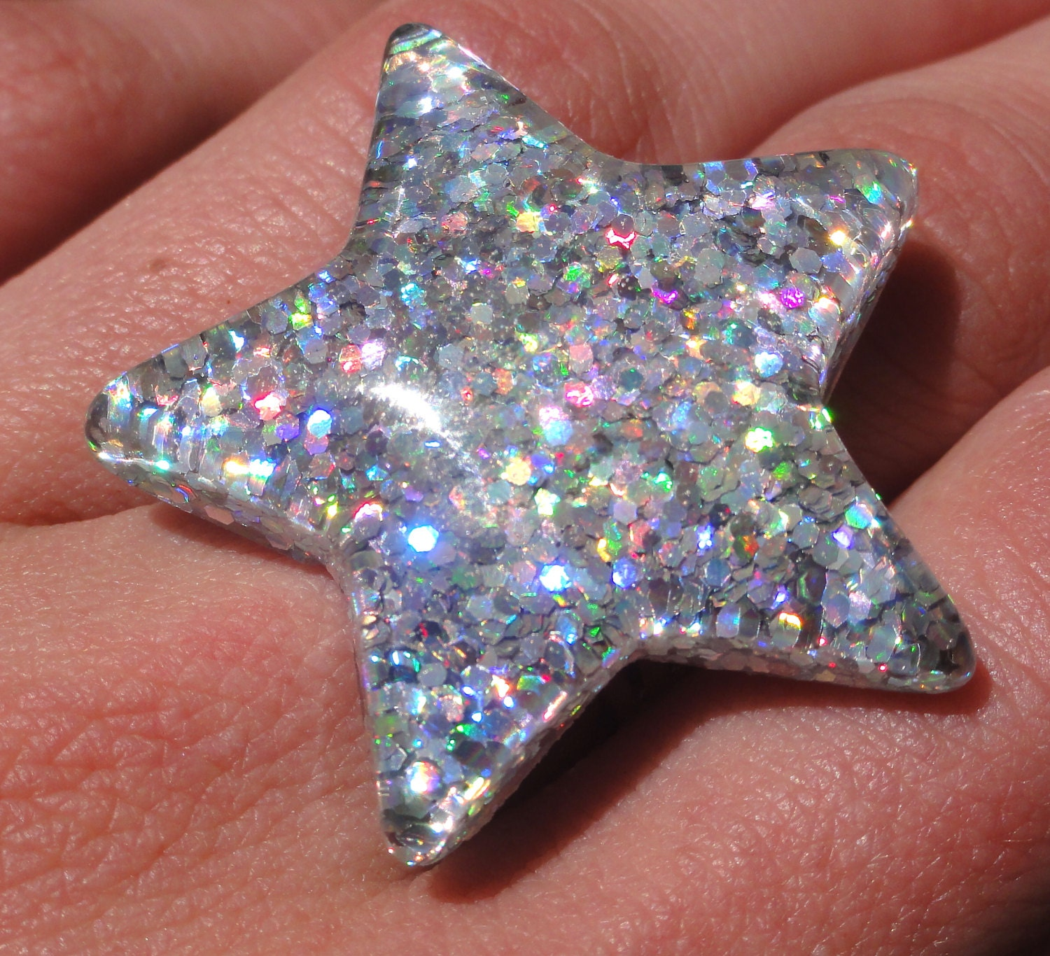 Hologram Silvers: Holographic Star Resin Ring 90's Holographic Silver
