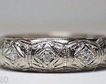 Antique Diamond Platinum Art Deco Eternity Band | RET- 210