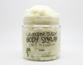 Lavender Sugar Body Scrub, 4 oz, Vegan, 100% Natural, Organic, Essential Oils, Best Exfoliating Scrub for Soft Skin