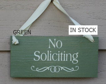 No Soliciting Sign/Decorative Sign/ YOU Choose Color/Wood Sign/Outdoor Sign/No Sales Calls/Ready to Ship
