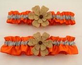 Orange and Silver/Grey Wedding Garter Set with Burlap Flower Deco