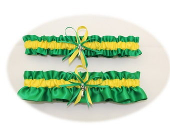 Farm Colors Wedding Garter Set with Tractor Charms