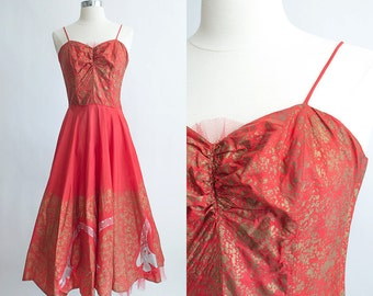 Vintage 50s Dress | 1950s Party Dress | Emma Domb Red Taffeta Egyptian Novetly Print Cocktail Dress Full Skirt