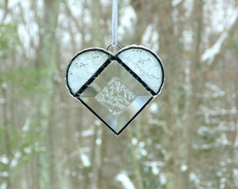 Stained glass heart suncatcher, lacy heart, unique heart gift under 25, one of a kind, window decoration, heart ornament, Mothers day